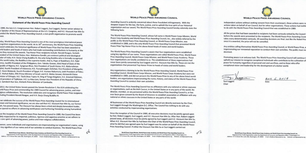 World Peace Prize Awarding Council Issues Statement at 30th Anniversary